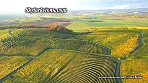 far view above vineyards in autumn
