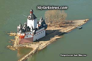 ship shape fortress on an island in the Rhine river